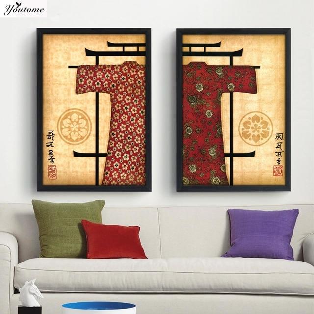 Moderne Mur Peinture Beauté Japonais Kimono Accueil Art Contemporain