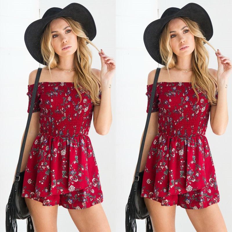 2017 Summer Sexy off shoulder floral print elegant   jumpsuit   romper beach short playsuit Women overalls