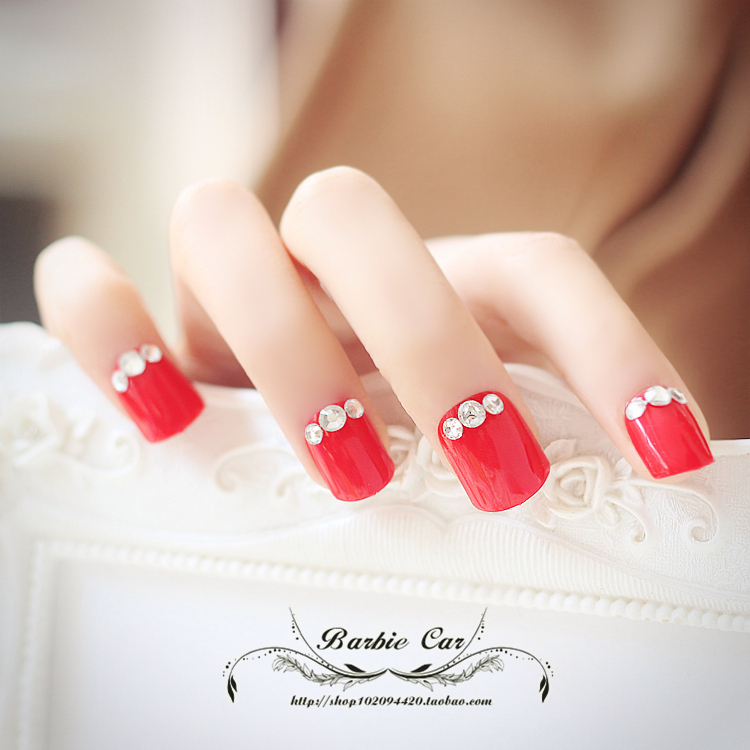super hermosa de color rojo puro kit uas postizas con pegamento francs consejos completas uas tamao corto uas lindas falsos del arte del