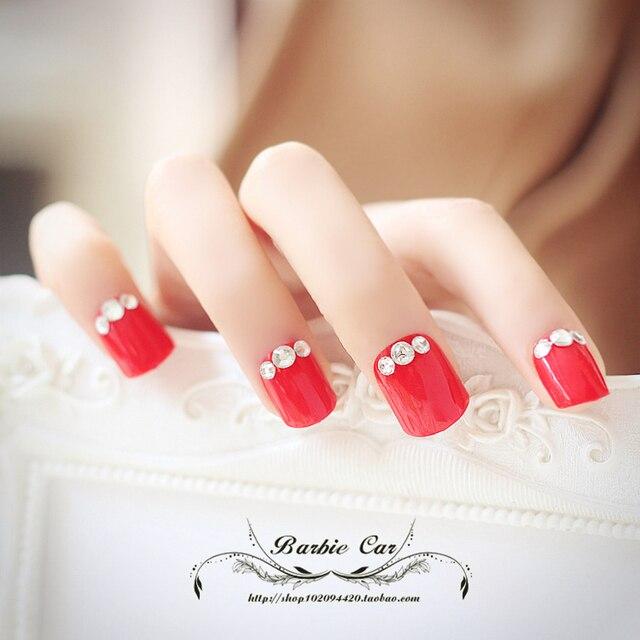 Super hermosa de color rojo puro kit uñas postizas con pegamento ...