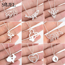 SMJEL Bohemia Origami Mickey Necklace Women Jewelry Geometric Animal Cat Bear Necklace Pendants Collares Gift Collier(China)
