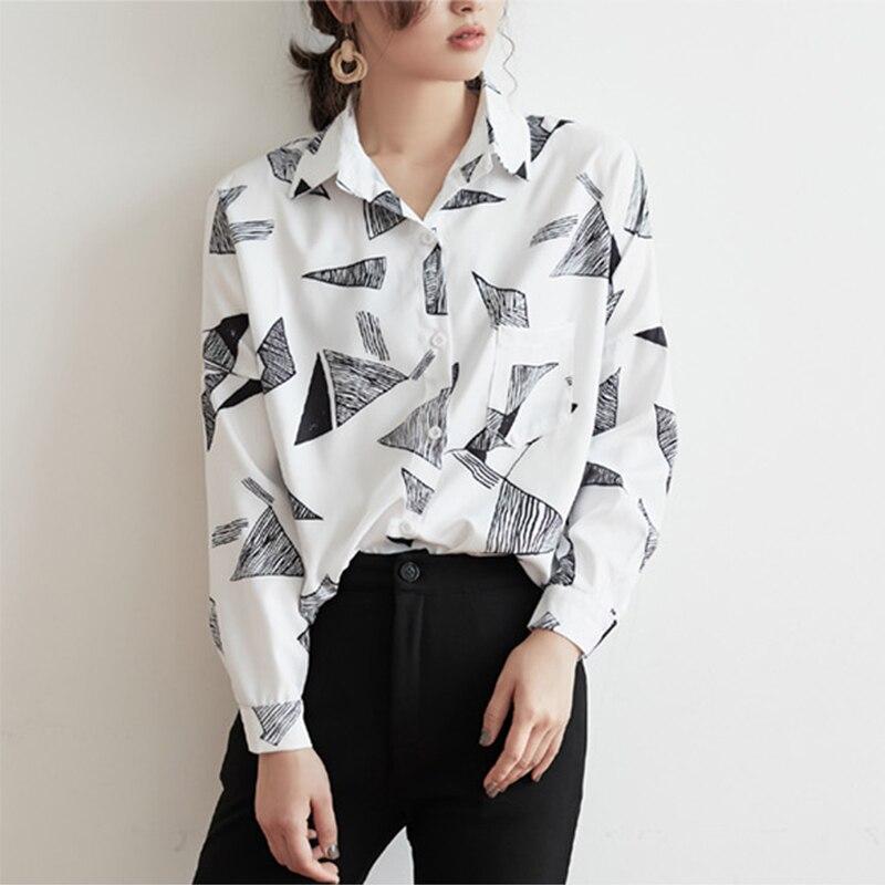 Tops Para Casual Negro Geométricos Nuevas blanco Blusas Modis Fglac Y 2019 Camiseta Mujer Blusa Llegadas Primavera 4aaRqg