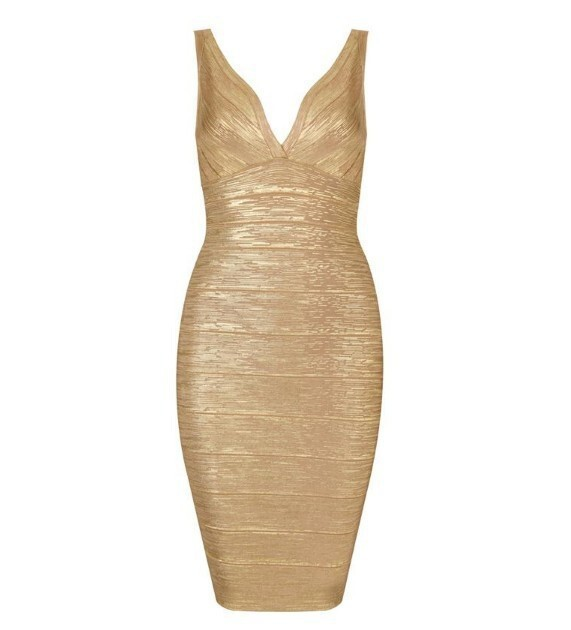 Party Dresses Pregnant Women Golden Deep V Neck Sexy Bandage Dress H759