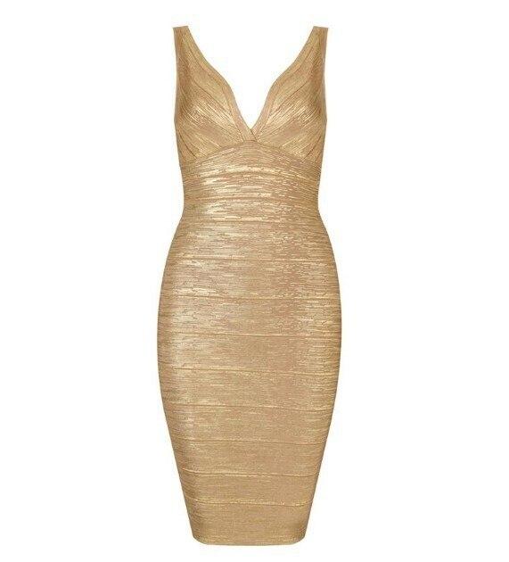 Robes de soirée femmes enceintes doré profond col en V Sexy robe de Bandage H759
