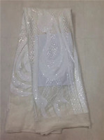 Very Popular Royal White Party Evening Dress Fabric African Lace Fabric High Quality French Sequins Lace