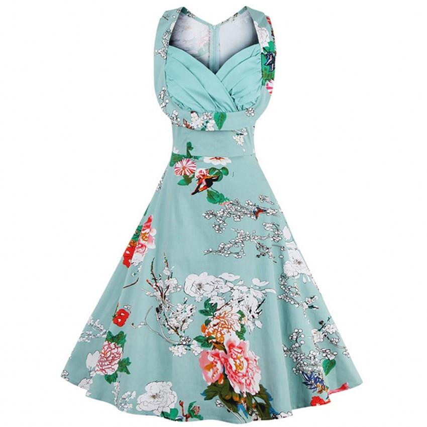 3XL 4XL Plus izmēra sieviešu pin-up kleita Retro Vintage 1950 60s - Sieviešu apģērbs