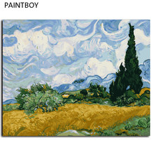Van Gogh Oil Painting Framed Picture Painting By Numbers Abstract Landscape DIY Digital Canvas Oil Painting Wall Art G415(China)