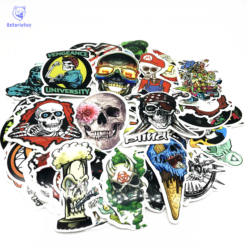 50pcs/1lot Superhero Zombie Skull Funny Sticker Decal For Car Laptop Bicycle Motorcycle Notebook Waterproof Sticker