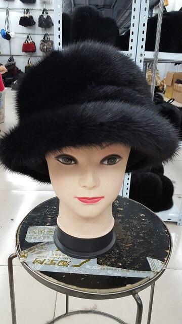 2015 de gama alta de lujo mujeres sombrero ajustable visones reales sombreros de piel mujeres invierno antes de la importación sombreros y toda la plata de piel de zorro