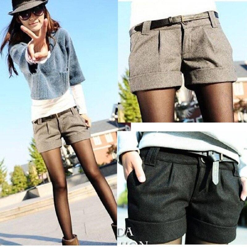 Shorts dans Femme Grande Grande De Mi Gris Noir Bootcut Court Mode Occasionnels Automne Shorts Femmes Taille Plus Taille Hiver Laine Pantalon 2016 B262 de PAgaHp