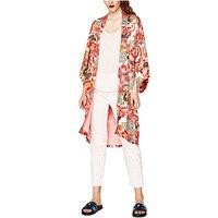 NINFA 2017 Verano Floral Impreso Blusa Suelta Casual Kimono Mujeres Largo Kimono Cardigan Elegent Verano de la Manga de La Blusa Blusas