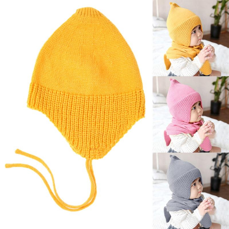 Winter Infant Baby Cute Knitting Soft Hat Handmade Baby Crochet Beanie Cap Solid Color Ear Protection Cap Winter Baby Photo Prop