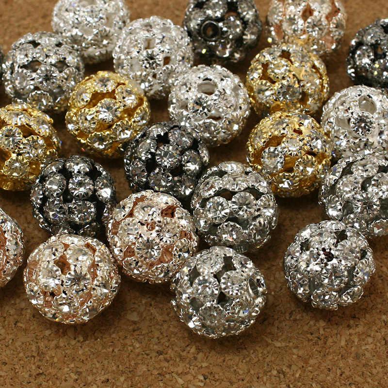 Hot moda 13mm 5pcs de metal Strass Rodada Bola Spacer oco DIY Beads para encantos pulseira colar fazer Jóias