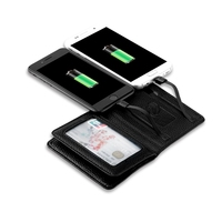 Men New products Multifunction USB Wallet Charger Cable Portable Travel Credit Card holder PU Wallet power bank purse