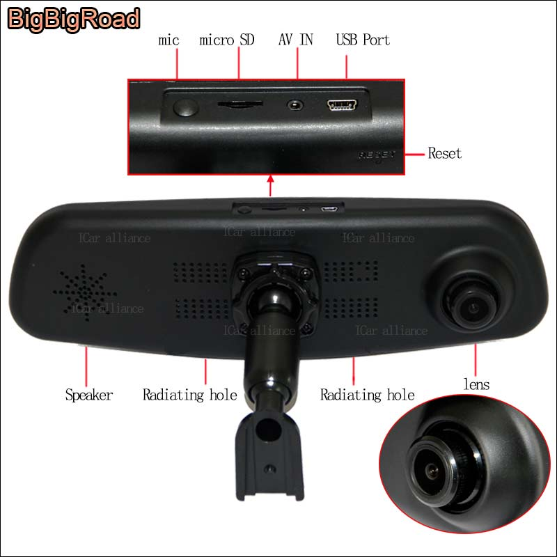 BigBigRoad Car DVR dual lens Video Recorder DashCam For mitsubishi pajero Sport Galant fortis Colt Zinger