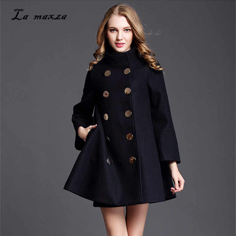 Women Winter Cape Coat Wool Long Coat 2018 Vintage Elegant Clothes Loose Fashion Korean Cape Coat