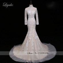 Liyuke Elegant Mermaid Wedding Dress Cap Sleeves Dress With