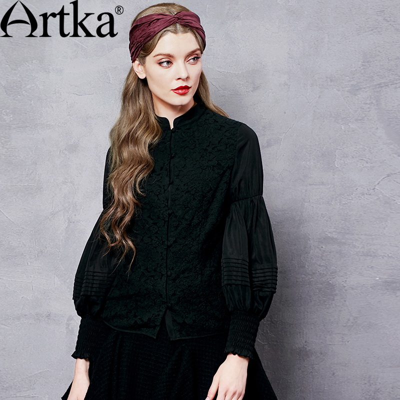 ARTKA Women s Solid Color Lace Patchwork Chiffon Shirt Vintage Stand Collar Lantern Sleeve All match