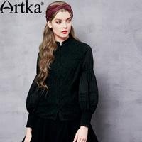ARTKA Women's Solid Color Lace Patchwork Chiffon Shirt Vintage Stand Collar Lantern Sleeve All match Shirt SA10662Q