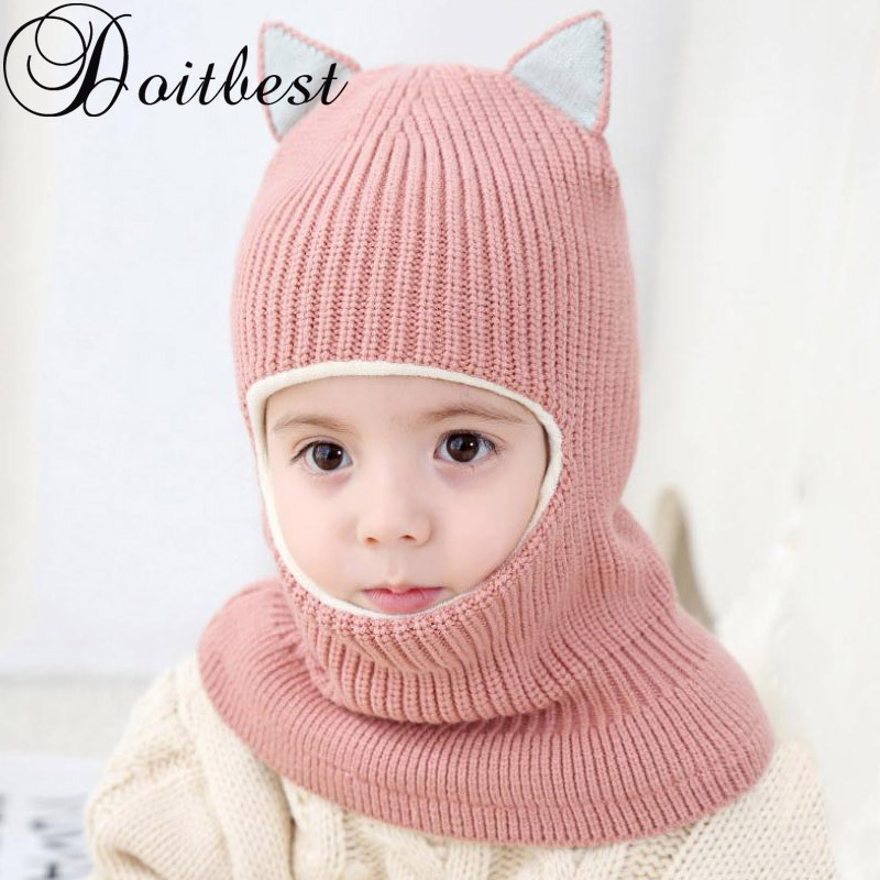 Doitbest 2-6 Years Winter Hat For Kids Beanies Plus Fur Boys Beanie Child Knit Hats Protect Face Neck Kid Girls Earflap Caps