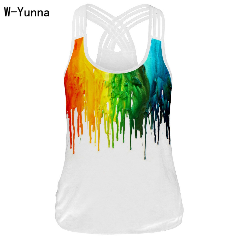 Colorful Printing Design Sleeveless Tank Tops Women Premium Quality Soft Racerback Vest Fitness top Femme Blackless Shirts Tank