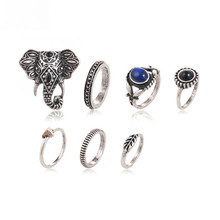 7pcs Bohemian Elephants Turquoise Ring Set High Quality Retro Boho Antique Silver /Gold Plated Leaf Eyes Rings Sets for Women