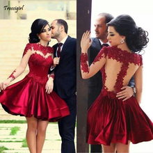 Elegant High Neck Puffy Burgundy Short Dresses Party Dresses Appliques Sheer Back Long Sleeves Satin Cocktail Party  Knee-length burgundy lace details crew neck long sleeves high waisted dresses