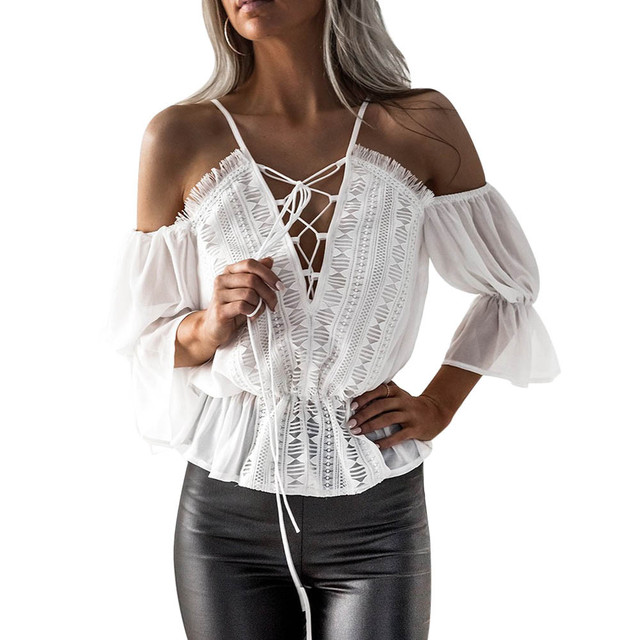 1ebef00d03647b women blouses 2019 Autumn tops femme long Sleeve Sexy Deep V-Neck Lace  Chiffon Blouse Casual Tops Shirts blusas feminina