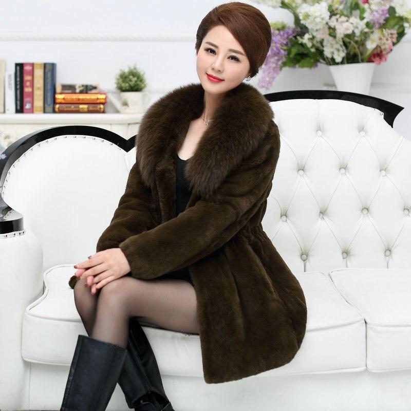 Real Fox Fur Collar Elegant Middle Age Ladies Natural Rex Rabbit Fur Jackets Women Pockets Slim Waist Real Fur Coats 2019 Winter