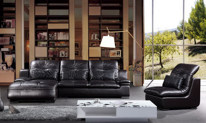 Free Shipping Italy Design Luxury Top Grain Leather Corner Sofa, Made With Oak Wood Frame, High Elastic Sponge Lounge Sofa L607