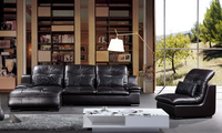 Italy Design Luxury Top Grain Leather Corner Sofa Made With Oak Wood Frame High Elastic Sponge