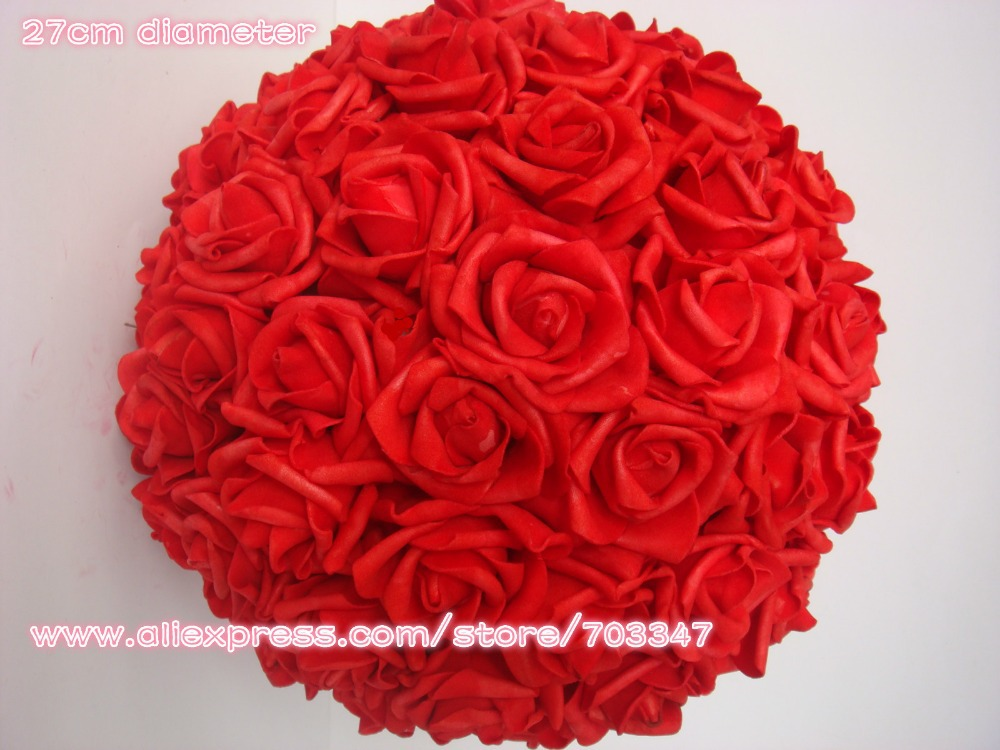 27cm Kissing Foam Rose Flower Ball Wedding Party Decorative Flowers Wreaths 8pcs lot 7 Colors in Artificial Dried Flowers from Home Garden