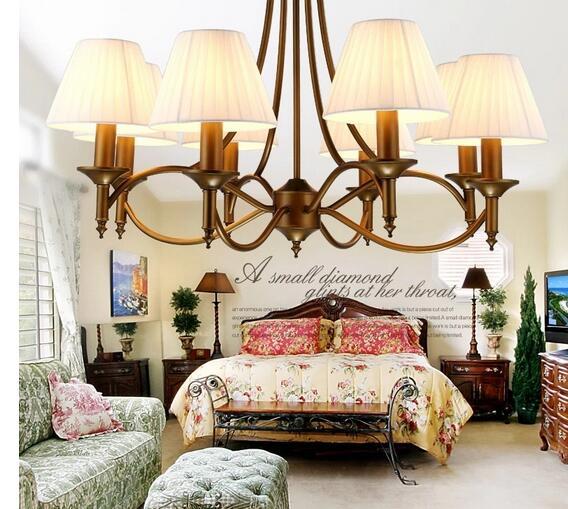 Moderne Antiken Kronleuchter Schlafzimmer Lampe Rotguss Farbe