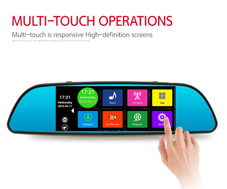 7 inch Full HD 1080P Bluetooth WIFI FM Map Free Update ROM 16GB Special Android 4.4 Car DVR Dual Lens Camera Rearview mirror