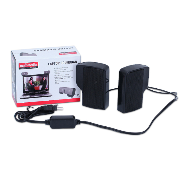 SCOMAS Portable Mini USB Stereo Speaker Soundbar clipon Speakers for Notebook Laptop Phone Music Player Computer PC with Clip 5