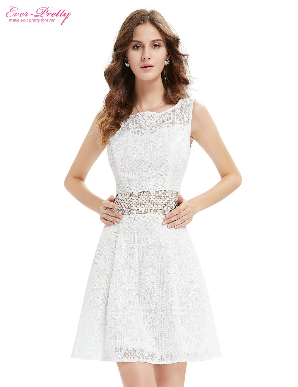 White dress cocktail party - Ever Pretty Cocktail Party Dresses Ap05409wh Cute Roud Neck Knee Length Casual White Short Casual