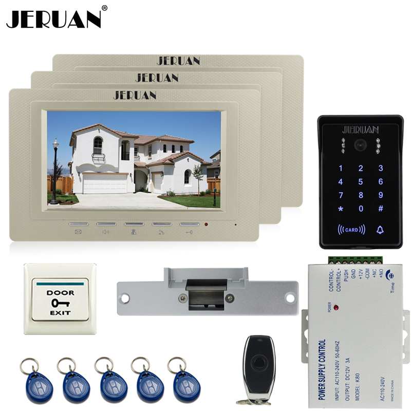 JERUAN Home 7`` TFT video doorphone intercom Entry system Kit 3 monitors RFID waterproof touch key password keypad Access Camera rfid keyboard ip65 waterproof video doorphone intercom system for 3 apartments with 7 color lcd video intercom system in stock