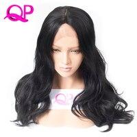 Qp волосы длинное тело волны кружева перед синтетические парики для женщин Теплоизоляционный midle часть натуральный афро-американские парик...