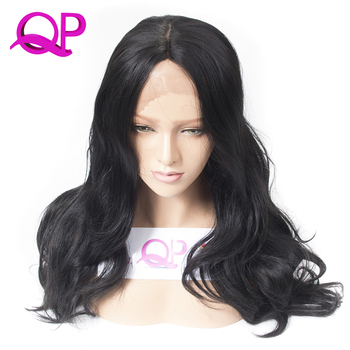 Qp hair Long Body Wave Lace Front Wigs Synthetic For Women Heat Resistant midle Part Natural Afro American Wigs 1B Color