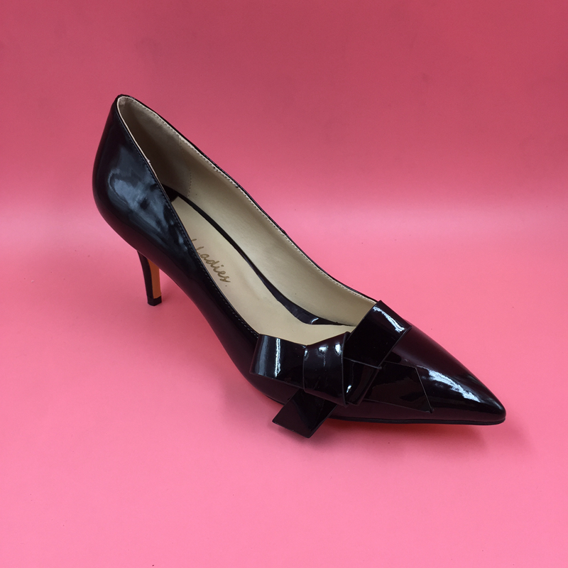 Black Bowknot Pointed Toe Women Pumps Low Heel Patent Leather Pumps Thin High Heels No Platform Slip-on OL Shoes Real Photos orange pointed toe pump women shoes sexy slip on women pumps real image thin high heels ol pump shoes large size 8 heels