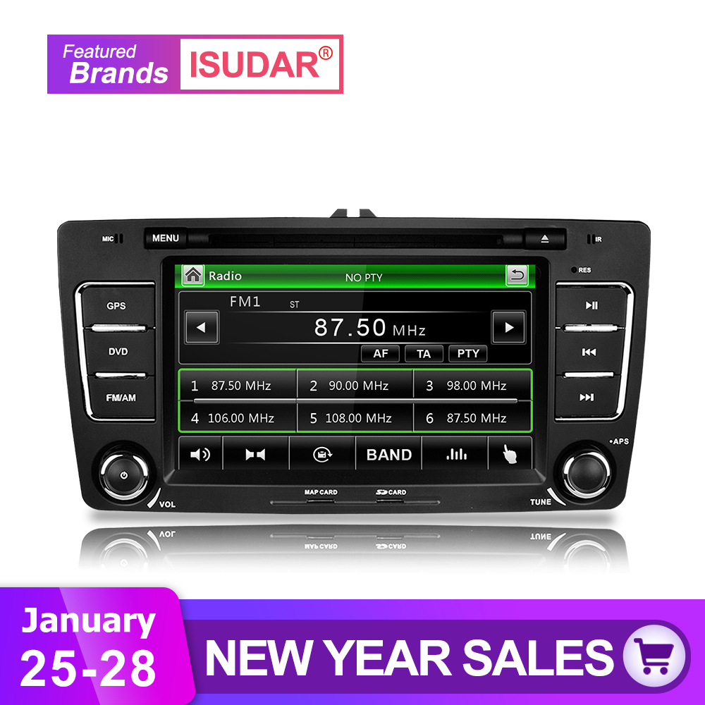 Isudar Car Multimedia Player GPS 2 Din For Octavia/SKODA Canbus Bluetooth Ipod Radio RDS WIFI USB SD Steering Wheel Control DVR