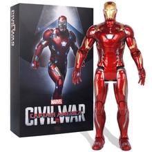 35CM Avengers 3:Infinity War Superhero Iron Man With LED Light Tony Stark PVC Action Figure Collection Model Toy EO50 цена 2017