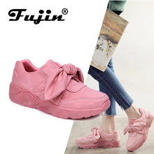 Fujin Woman Casual Shoes Bow Tie Ladies Flats For Women Silk Moccasins Sneakers Female Round Pink