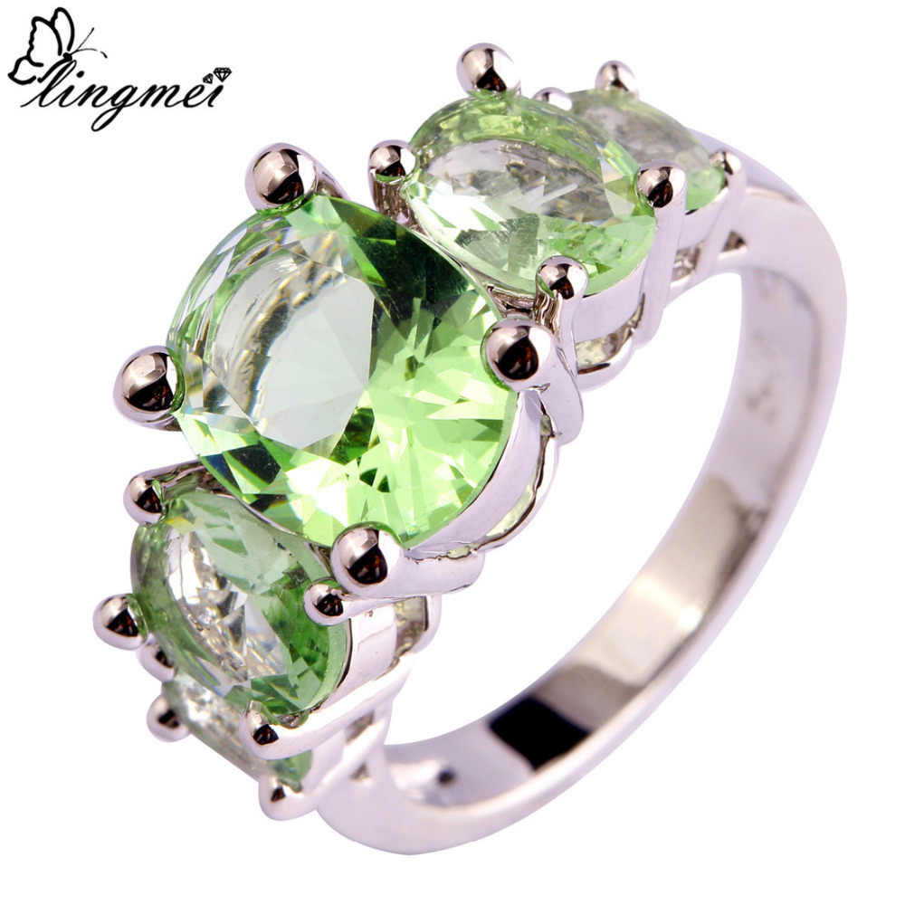 lingmei Fashion New Unisex Green Purple Silver Color Ring Size 6 7 8 9 10 11 12 13 Women Stylish Jewelry Free Shipping Wholesale