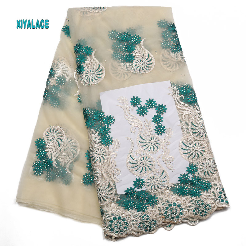 African Lace Fabric 2019 High Quality Nigerian Lace Fabrics Embroidery French Tulle Lace With Stones Fabric Women YA2016B-2