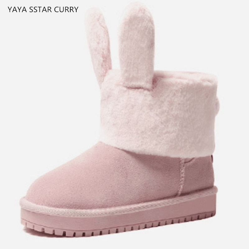 2018 new leather plus cashmere flat short tube thick boots rabbit rabbit snow boots winter UG