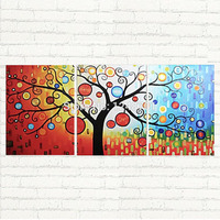 handpainted Large Modern 3 Piece abstract tree Oil Painting, Wall Art Contemporary Textured technology art for home decoration