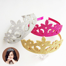 New Lovely Princess Crown Headband Glitter Felt Vintage Gold Silver Tiara Birthday Gift kids Head Accessory