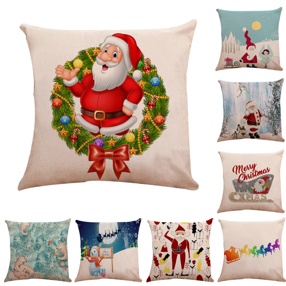 Christmas Xmas Linen Cushion Cover Throw Pillow Case Home: Christmas Car Linen Cushion Cover Throw Pillow Case Sofa