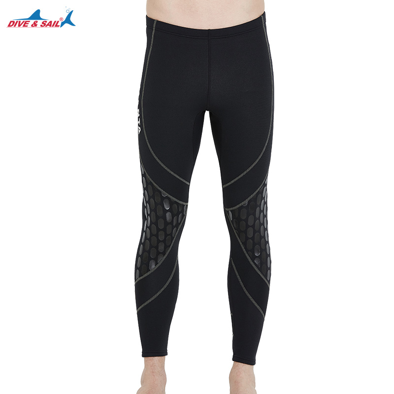 DIVE&SAIL 1.5 MM Neoprene Diving Pants For Men Winter Swimming Rowing Sailing Surfing Wetsuit Material Keep Warm Black Trousers